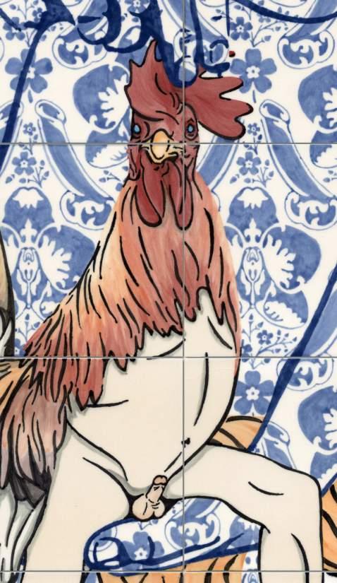 Detail · Venus and her magnificent cock · 2016 · Unterglasurmalerei