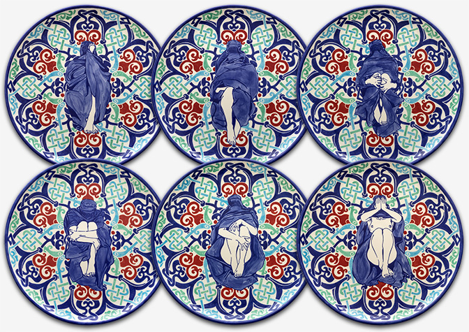 Dana Widawski · Wrapped Woman – Pizza Plate I–VI · 2017 · series of plates 1/5 · underglaze painting on ceramics